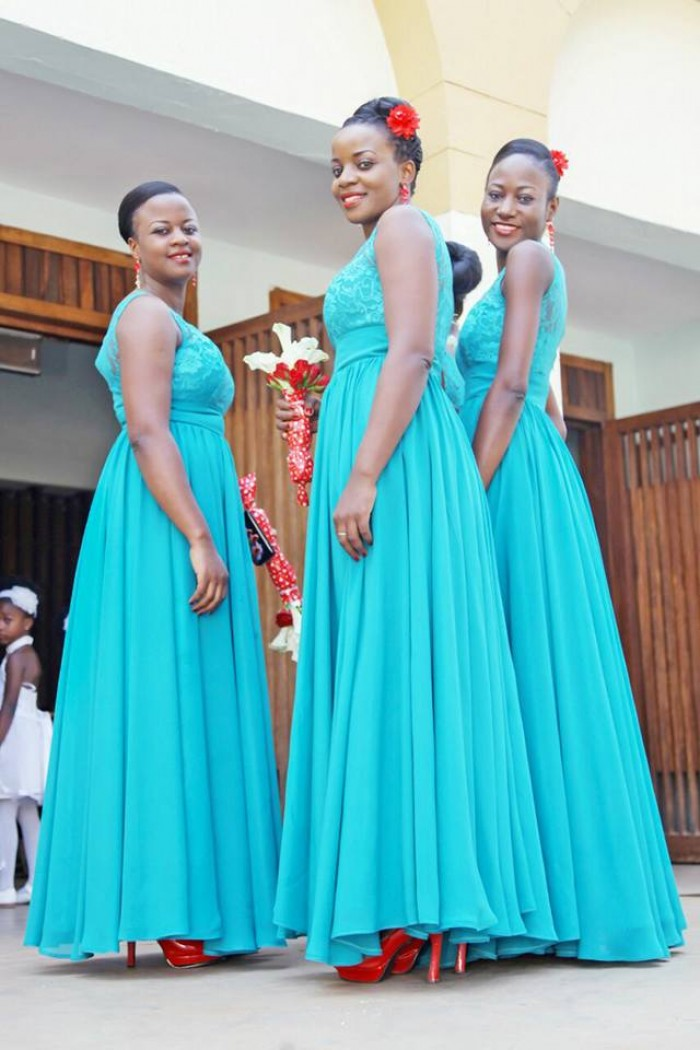 Elegant bridesmaids dressed by Bloodworth