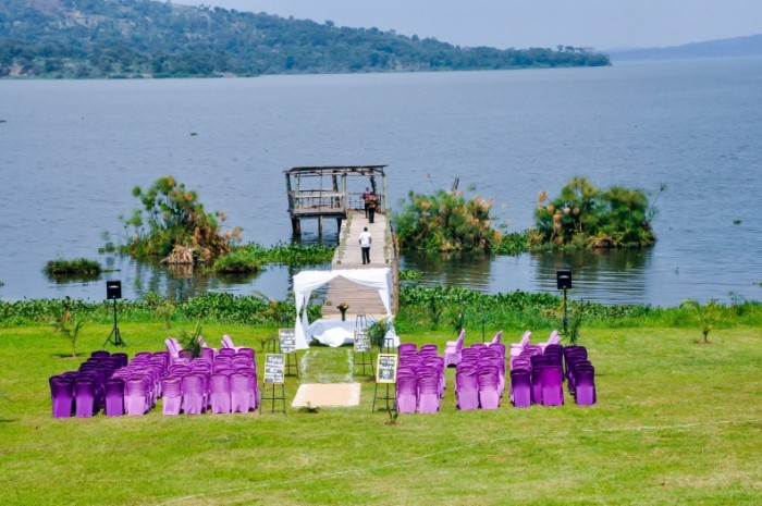 Lake side church ceremony set up by Amka Deco at Jahazi Pier Munyonyo