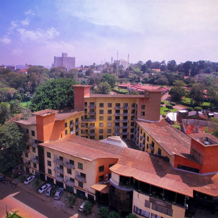 Aerial view of Mackinnon Suites in Nakasero, Kampala