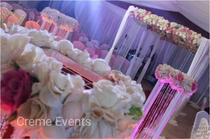 Royal pink and white wedding theme