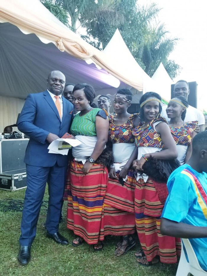 The Dance N' Beats Cultural Troupe with events MC Abby Mukiibi at Garden Courts Hotel in Mas