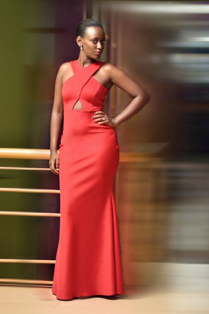Beautiful red dress tailored by peponi clothings