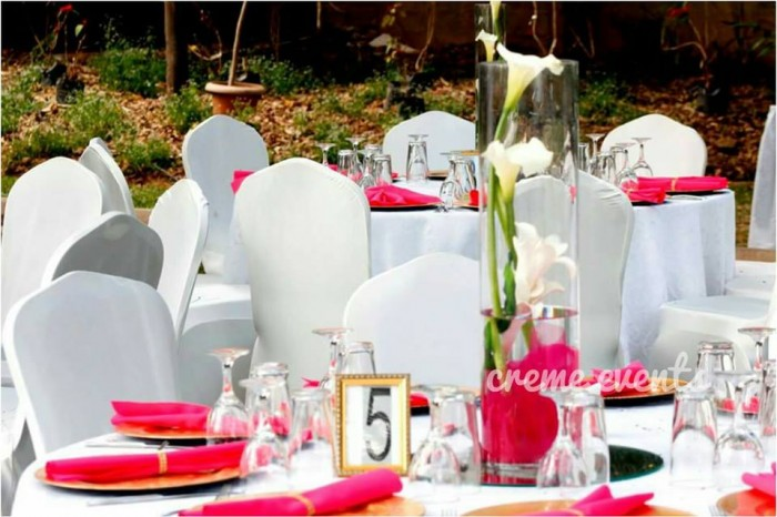 Pink and white theme Decor by Creme Events