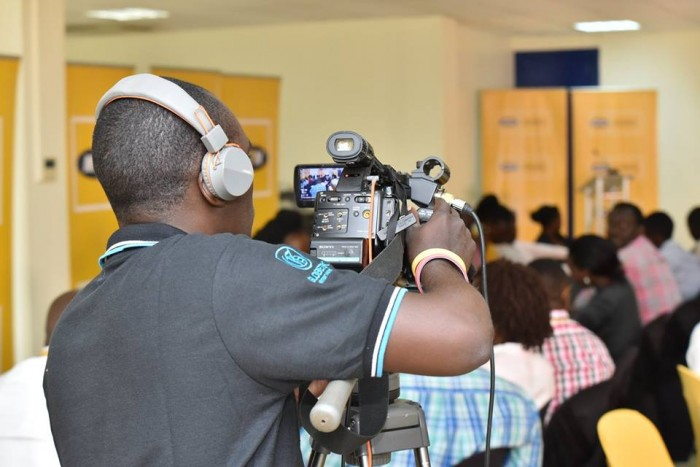 A Globetek Videography on camera at Nyonyi Gardens, Kololo during an MTN Event