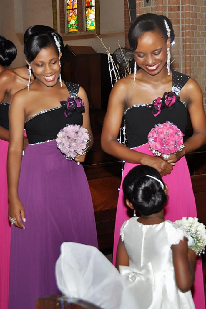 Bridesmaids in church as captured by Capital Studio Uganda