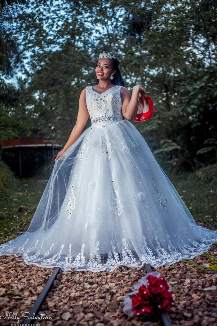 A beautiful Ugandan bride at a wedding photo shoot by Nelly Salvatore Photography
