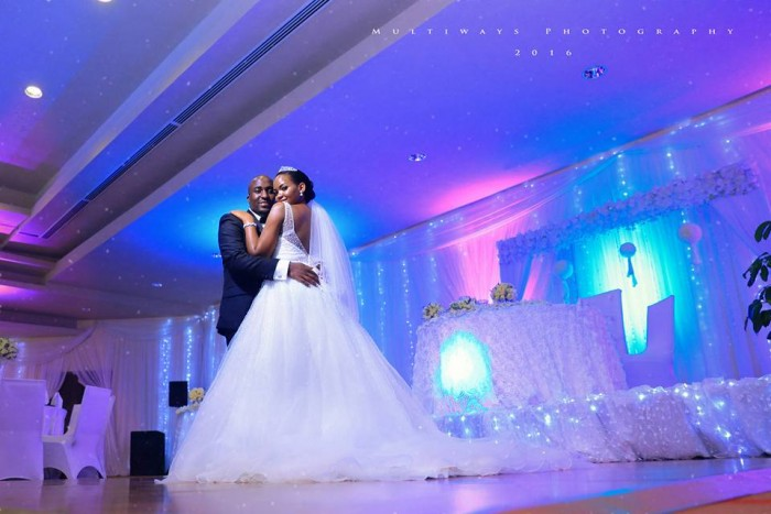 A bride and groom dazzling a reception photo shoot by MultiWays Photography