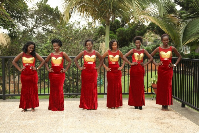 Models in red suede bridesmaids dresses by Lady Scarlet Bridals