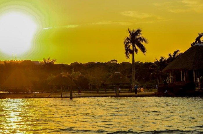 A sunset view of One Love Beach Busabala
