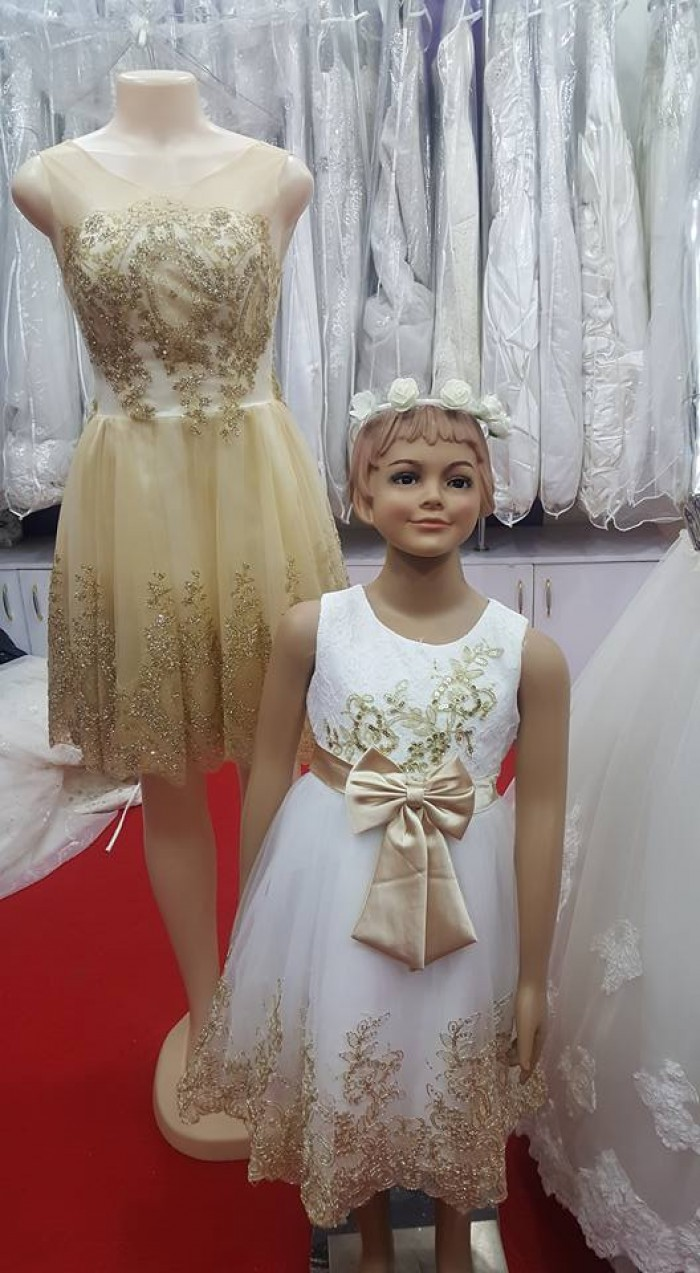 Golden Maid and Flower Girl Dresses at Mera Collections