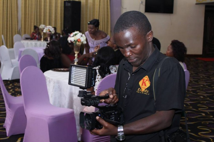 Ksan Event's Michael shoot a wedding at a reception in Kampala