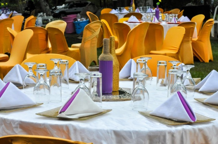 Gold, White & Purple wedding decorations by Amka Deco at Jahazi Pier Munyonyo