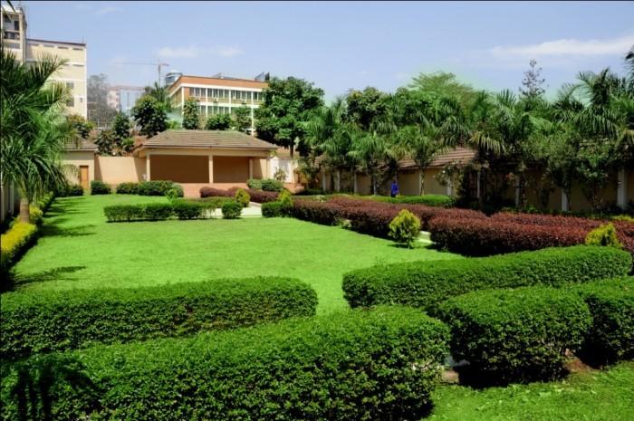 Scenic gardens at Emerald Hotel, Kampala
