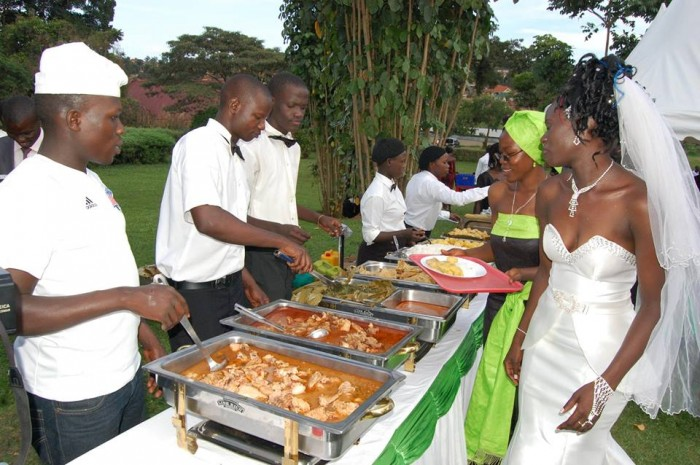 A bride being served by a team from Events Catering Limited