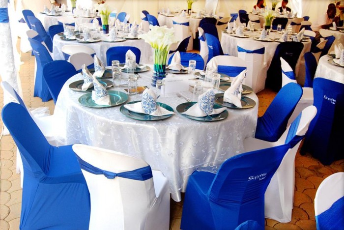 Blue and white inspired wedding decorations at Sapphire Hotel Limited