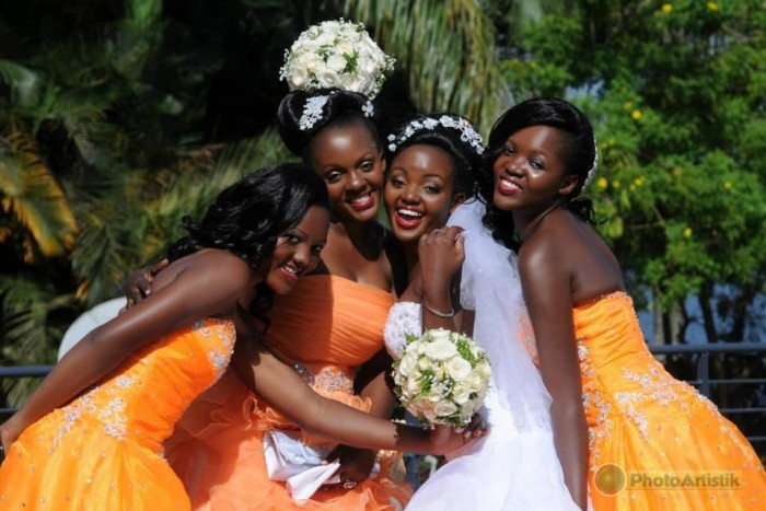 A bride and her maids at wedding photo shoot by Photo Artistik at Speke Resort Munyonyo