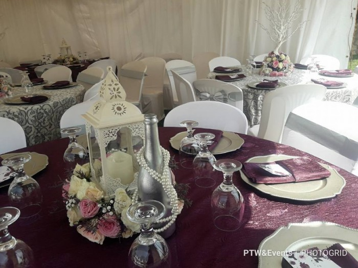 Plum and silver wedding decor for Jeremy and Fiona at All sisters gardens Sonde by PTW & Events