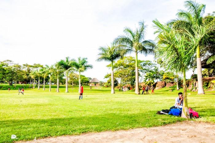 Spacious gardens at One Love Beach Busabala
