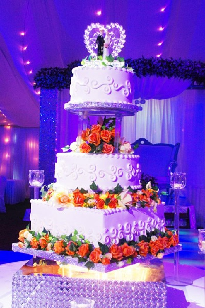 n elegant wedding cake baked by Sarahs Cakes