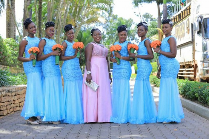 Bridesmaids during a photo shoot at Speke Resort Munyonyo