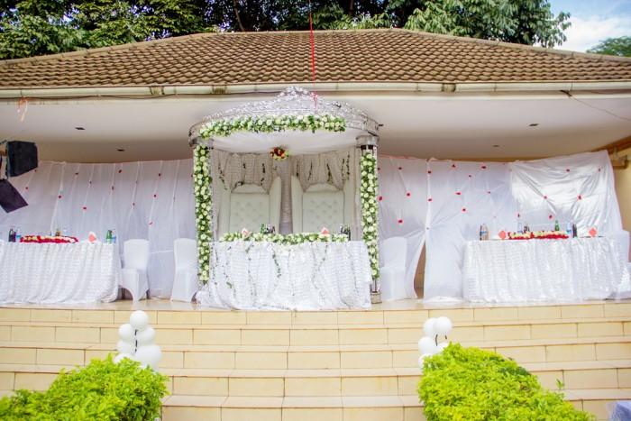 Exhilarating white and rose wedding decorations at Emerald Hotel Kampala