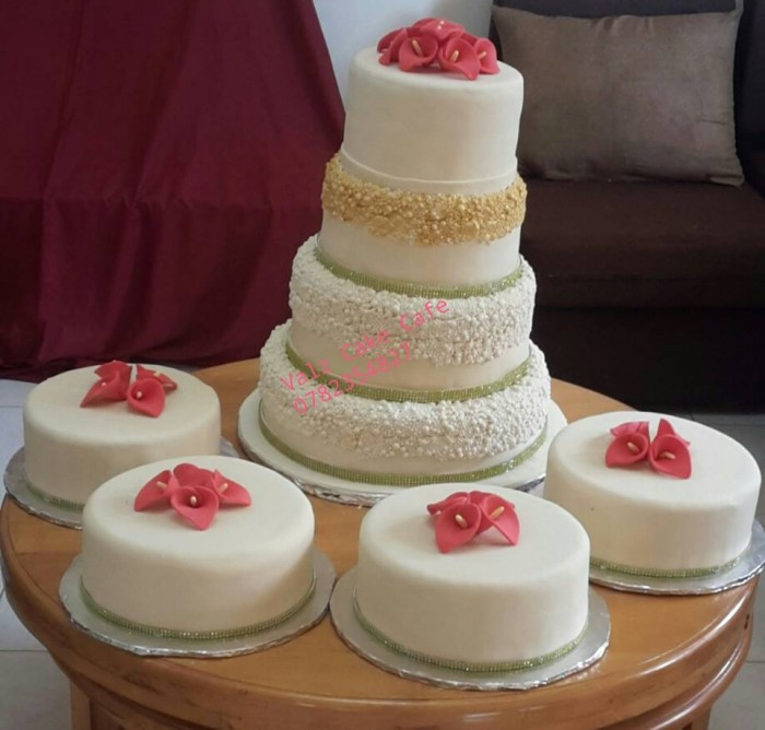 A wedding cake being prepared by Valz Cake Cafe