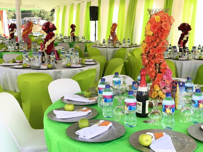Lemon green and orange themed introduction decorations in Nakifuma by Spice Decorator