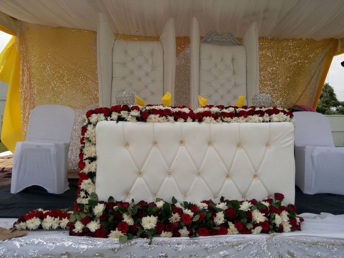 Simple wedding high table decorations by Mr Events