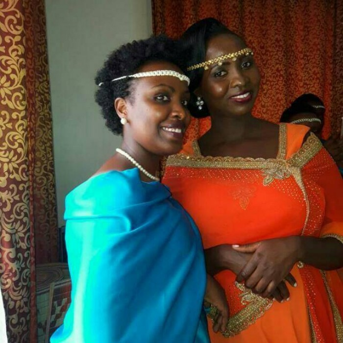 A bride and her maid of honor dressed by My Kuhingira Collection