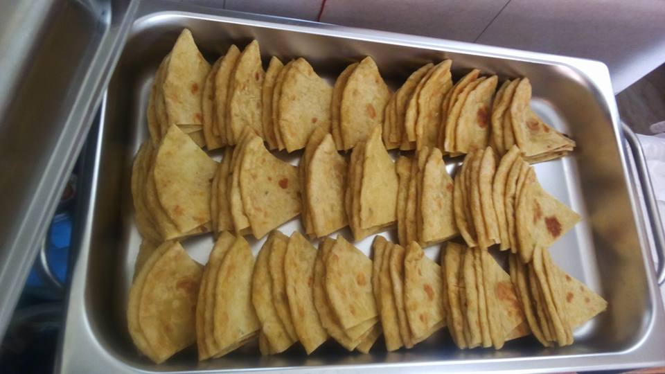 Sliced chapati prepared by Tasty Planet Catering Services
