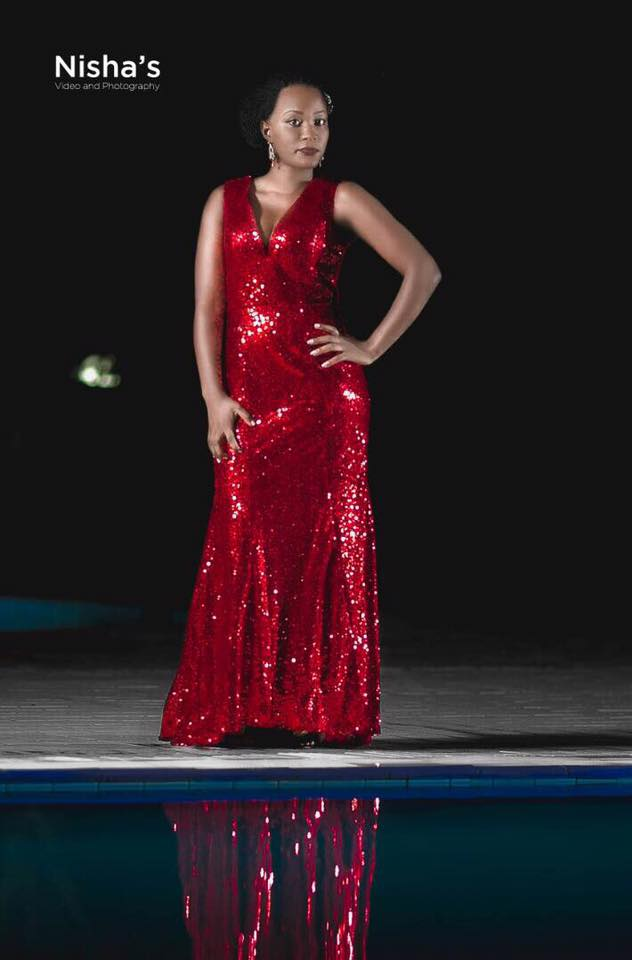 A V-neck sequined red from Nisha's Bridals