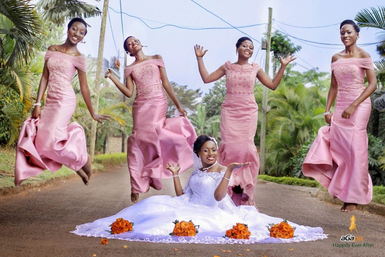 Babirye and her maids during a wedding photo shoot in the streets of Kampala with Agapix Photography