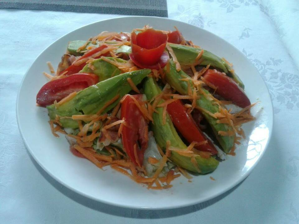 Mexican salads prepared at Adonai Guesthouse in Muyenga