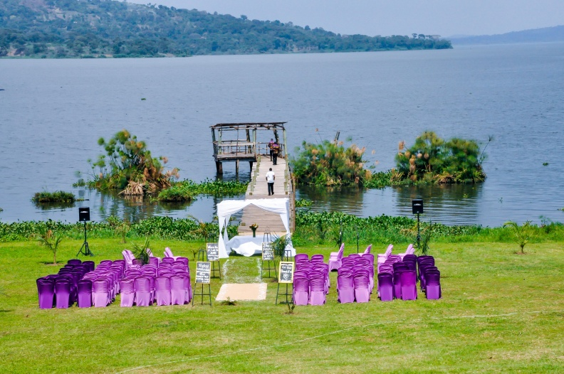 Lake side church ceremony set up by Amka Deco at Jahazi Pier Munyonyo