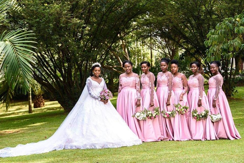 A bride and her stunning entourage, Hairdos by Am her stylist