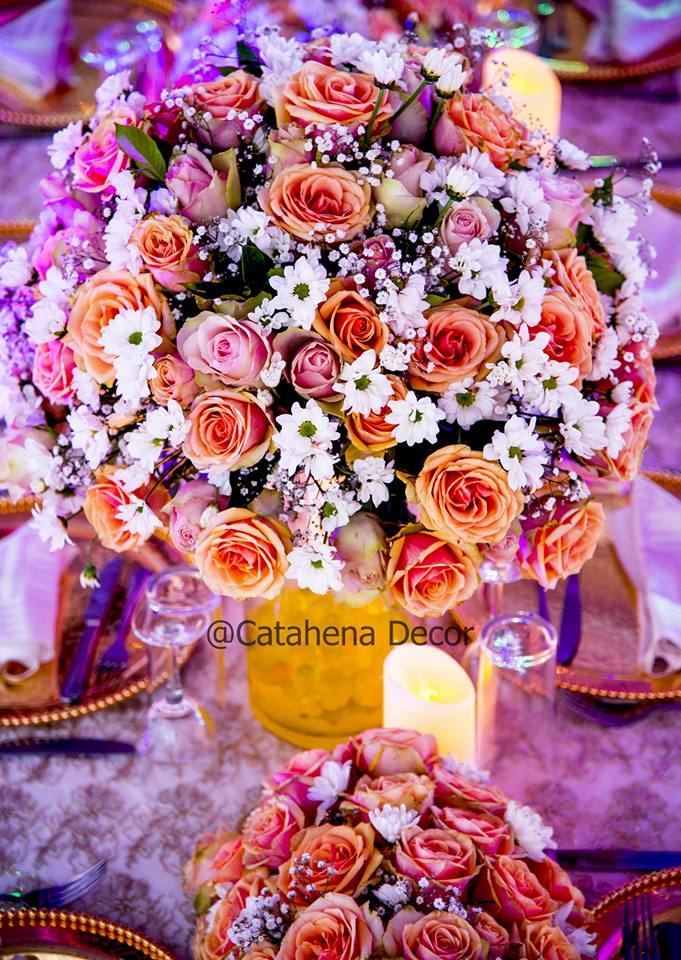 A breathtaking flower centerpiece by Catahena Decor and Wedding planners