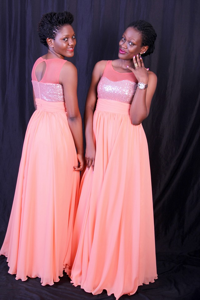 Pink bridesmaids dresses tailor made by Peponi Clothings