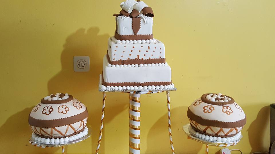 A customary wedding cake by New Day Bakery & Catering Services