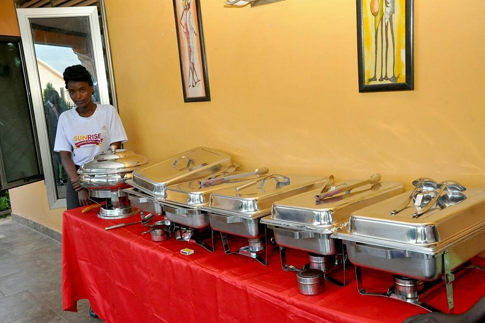 Chafing dishes to warm the food from Sunrise Catering Services Limited