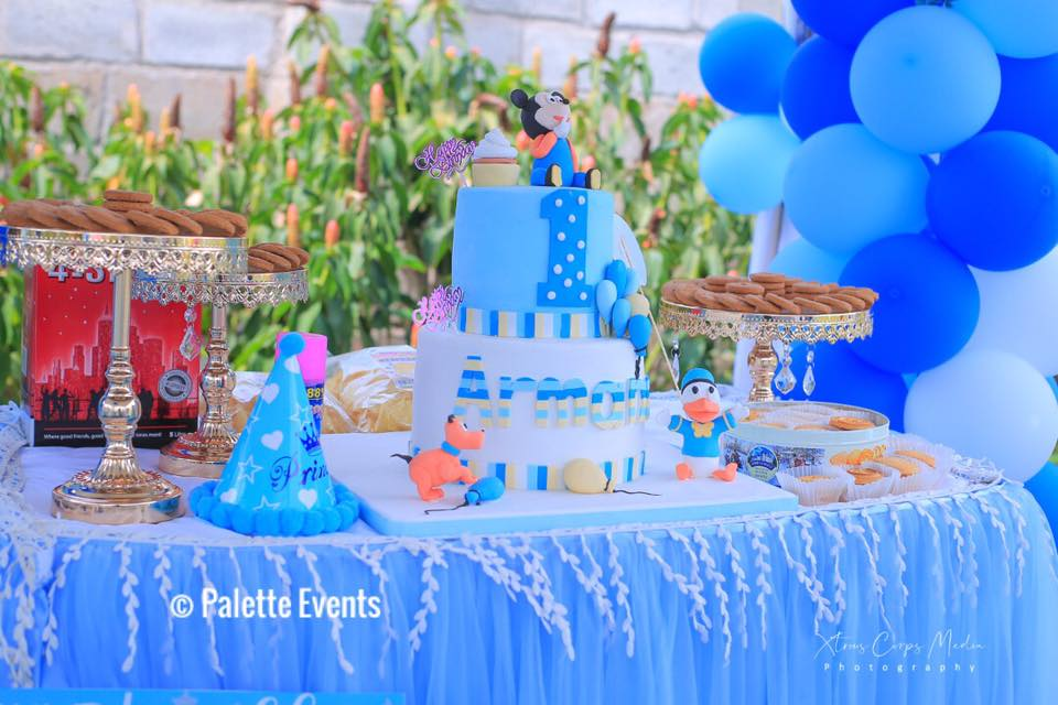 Baby Armani's birthday cake, set up by Palette Events