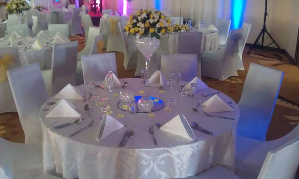 All White Wedding Decor Set up at Royal Suites Hotel Bugolobi