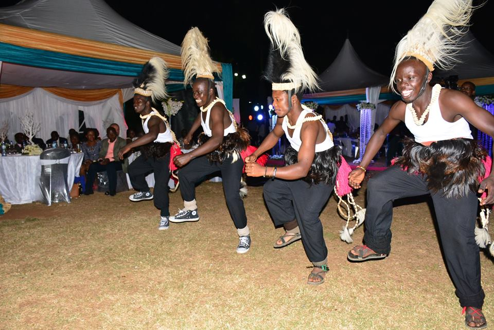 Traditional dance performances by the gents of Nyange Cultural Performers at Mr & Mrs Lusiba's wedding