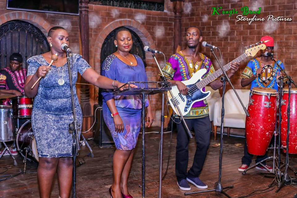 Angela Kalule and her team of the K'angie Band on stage