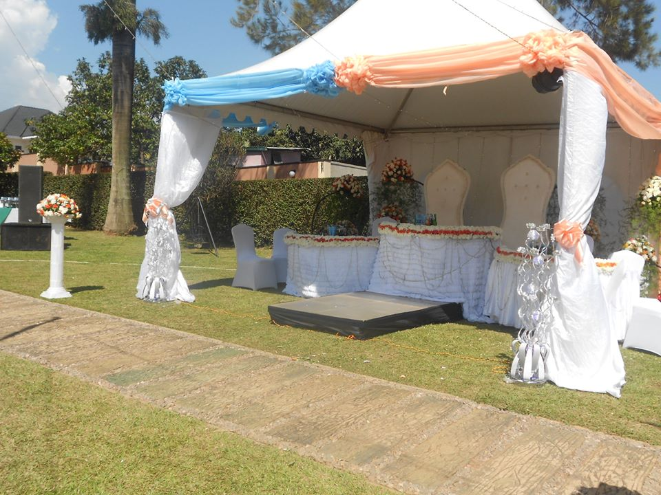 Wedding high table decorations at Green valley hotel, Ggaba