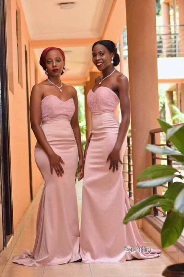 Fitting strapless bridesmaids dresses by Zeal Clothing